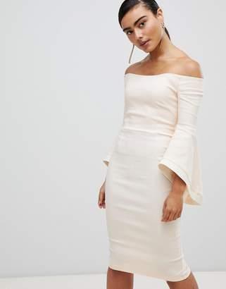 Bardot Vesper flute sleeve with contrast detail midi dress