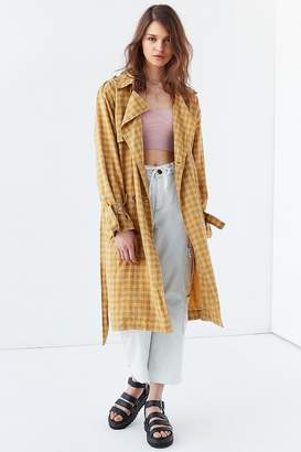 Urban Outfitters Plaid Linen Trench Coat