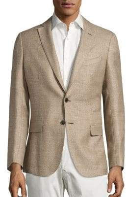 Saks Fifth Avenue Men's COLLECTION Basket-Weave Wool& Silk Jacket - Tan - Size 44 R