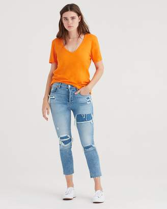 7 For All Mankind Curved Neck Tee in Electric Orange
