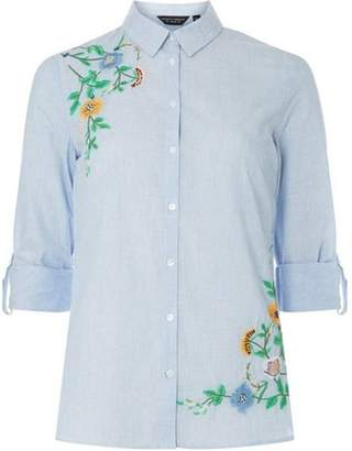 Dorothy Perkins Womens Blue Beaded Embroidered Shirt