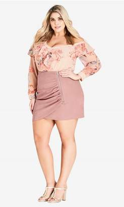 City Chic Sweetly Sueded Skirt