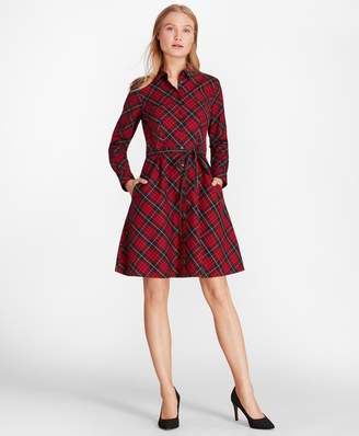Brooks Brothers Plaid Cotton Twill A-Line Shirt Dress