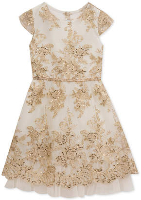 Rare Editions Big Girls Plus Sequin Embroidered Party Dress