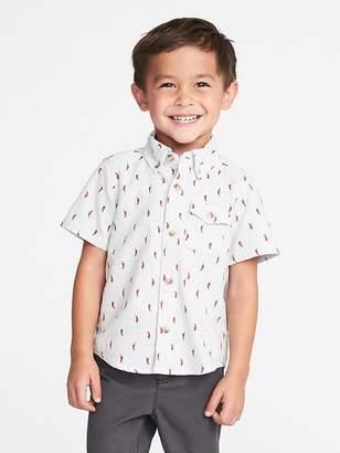 Old Navy Printed Slub-Weave Shirt for Toddler Boys