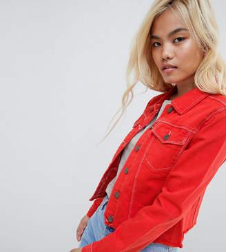 Brave Soul Petite Harris Raw Colored Denim Jacket