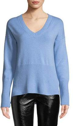 Derek Lam 10 Crosby Ribbed V-Neck Cashmere Sweater