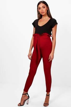 boohoo Maternity Erin Paper Bag Skinny Trouser