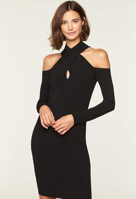Milly Twist Neck Fitted Dress