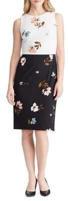 Lauren Ralph Lauren Slim Fit Two-Tone Floral Crepe Sleeveless Dress