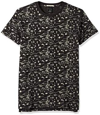 Scotch & Soda Men's Washed Rocker Tee with Chest and Back Artwork