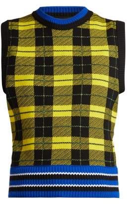 Versace Tartan Jacquard Knit Wool Blend Sweater - Womens - Yellow Multi