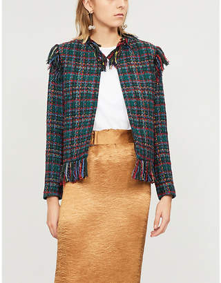 Sandro Pumba frayed-trim checked tweed jacket
