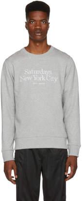 Saturdays NYC Grey Bowery Miller Standard Embroidered Sweatshirt