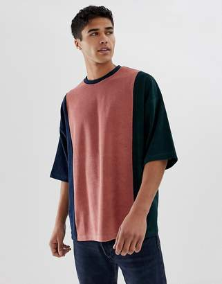 Asos DESIGN oversized t-shirt with half sleeve in towelling with vertical color block