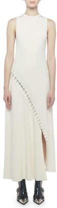 Alexander McQueen Sleeveless Slash Ribbed Asymmetric Maxi Dress