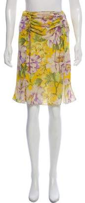 John Galliano Floral Print Silk Lined Skirt
