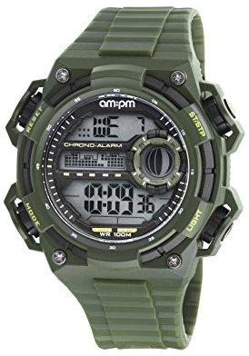 Am.pm. Am : Pm pc163-g395メンズArmyグリーンデジタルスポーツ腕時計クロノグラフアラームBlacklight
