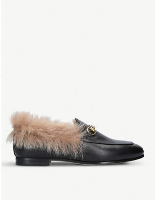 Gucci Jordaan leather and shearling loafers