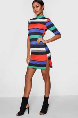 boohoo Bright Stripe Bodycon Dress