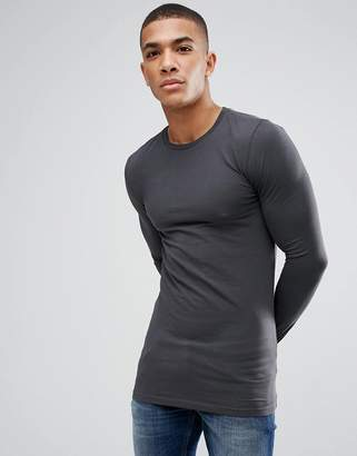Asos Design DESIGN longline muscle fit t-shirt with long sleeves in black