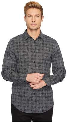 Perry Ellis Regular Fit Scribble Check Dress Shirt Men's Long Sleeve Button Up