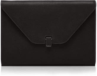 Valextra Leather Tablet Cover/Clutch Bag, Black