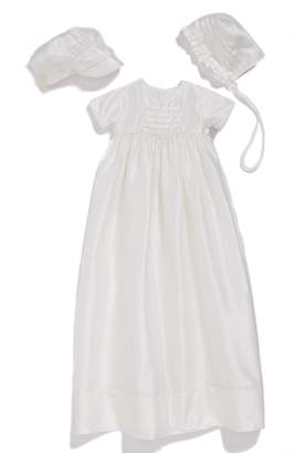 Little Things Mean a Lot Dupioni Christening Gown with Hat and Bonnet Set