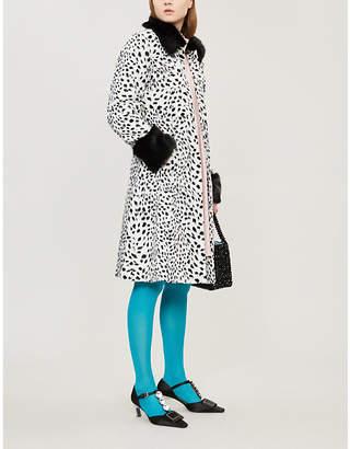 Shrimps Leo contrast-collar leopard-print faux-fur coat