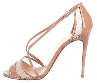 Christian Louboutin Patent Leather Ankle Strap Sandals