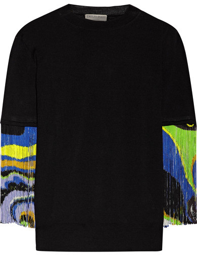 Emilio Pucci - Fringed Wool Top - Black