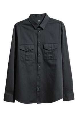 H&M Utility Shirt Regular fit - Black - Men