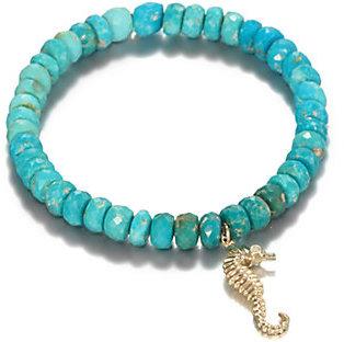 Sydney Evan Turquoise, Diamond & 14K Yellow Gold Seahorse Charm Beaded Stretch Bracelet