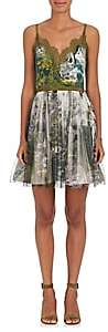 Alberta Ferretti Women's Jungle-Print Crepe & Tulle Minidress-Green, White