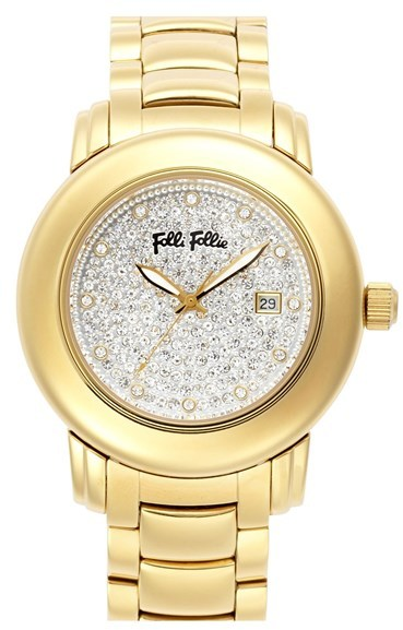 Folli Follie 'Urban Spin' Crystal Dial Bracelet Watch, 43mm