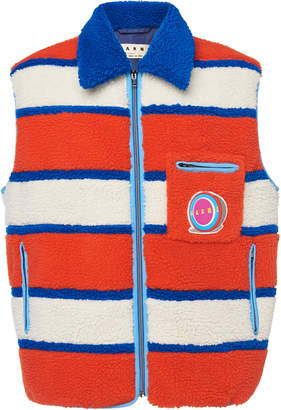 Marni Striped Collared Vest With Patchwork