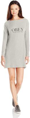 Obey Women's Vanity Long Sleeve Sweater Dress, Heather Grey