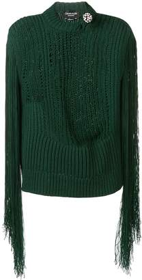 Calvin Klein fringed sleeve knitted top