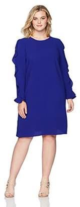 London Times Women's Plus Size Long Sleeve Round Neck Crepe Shift Dress w. Ruffle