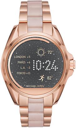 Michael Kors Women's Access Bradshaw Digital Rose Gold-Tone Stainless Steel and Blush Acetate Bracelet Smart Watch 44mm MKT5013 $375 thestylecure.com