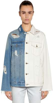 Sjyp Distressed Two Tone Denim Jacket