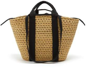 Muun Blaise Large Canvas And Hand Woven Straw Tote - Womens - Black