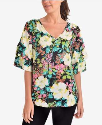 NY Collection Printed Tiered-Sleeve Top
