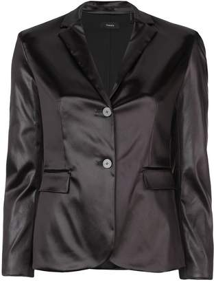 Theory satin button front blazer