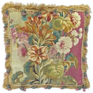 One Kings Lane Vintage Aubusson Floral Pillow with Flower Tassels - Vermilion Designs