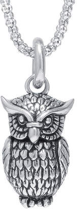 FINE JEWELRY Sterling Silver Owl Pendant Necklace