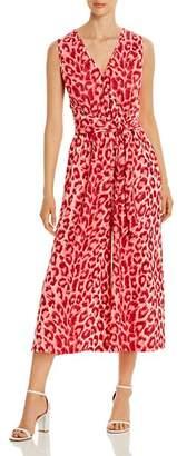 Kate Spade Sleeveless Cropped Leopard-Print Jumpsuit