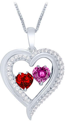 FINE JEWELRY Love in Motion Lab-Created Ruby & Pink Sapphire Heart Pendant Necklace in Sterling Silver