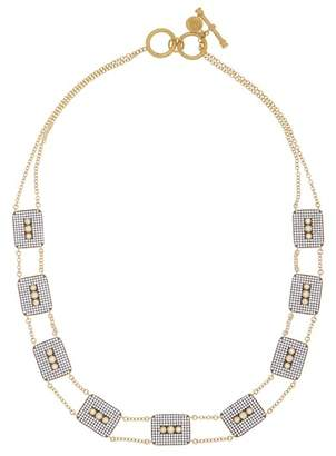 Freida Rothman 14K Gold Plated Sterling Silver CZ Contemporary Deco Triple Stone Necklace