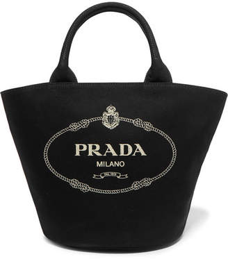Prada Printed Canvas Tote - Black